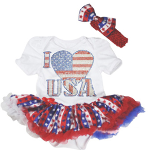 4th of July I Love USA Baby Bodysuit with Attached Tutu - $27 with FREE Shipping!