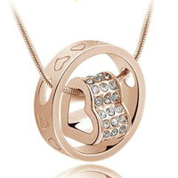 18K White Gold-Plated Swarovski Crystals Heart Necklace - $1