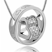 18K White Gold-Plated Swarovski Crystals Heart Necklace - $13 with FREE Shipping!