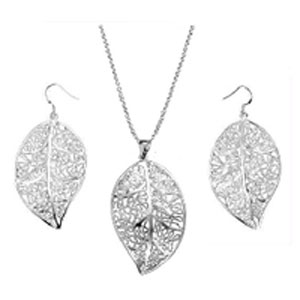 Leaf Necklace and Earring Set - $13 with FREE Shipping!