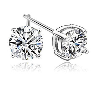 18K White Gold Zirconia Stud Earrings 6mm - $12 with FREE Shipping!