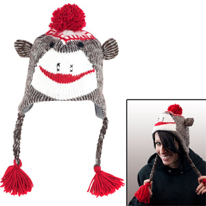 Adult Size Brown Sock Monkey Knit Hat with PolyFleece Lining- $11 with Free Shipping
