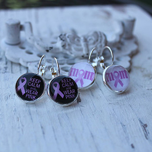 Breast Cancer Awareness Earrings (post or dangle) $9.50 with FREE Shipping