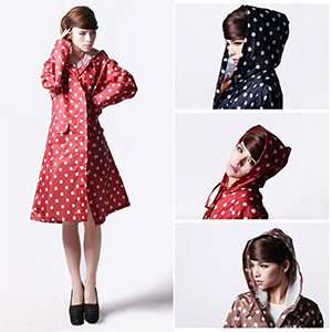 Polka Dot Ladies Hooded Raincoat - $22 with FREE Shipping!