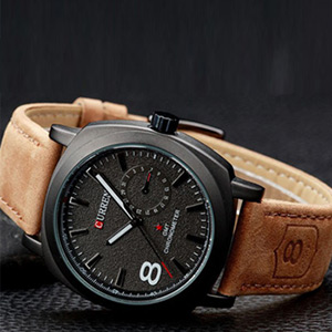 Fashion Leather Strap Men's Military Style Watch - $22.50 with FREE Shipping!
