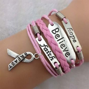 Breast Cancer Awareness Wrap Bracelet- $9 with Free Shipping