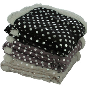 Silver Dot Super-Soft Sherpa Throw- $33 with Free Shipping