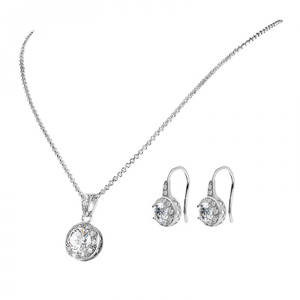 Solitaire Pendant & Drop Earrings Set made with Czech Crystals- $22 with Free Shipping
