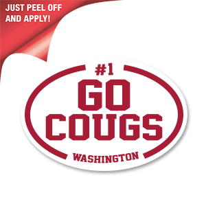 Go Cougs! - White Oval Decal