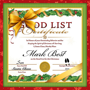 Santa's Good List Certificate - $6
