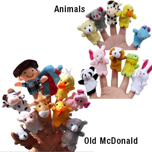 Old McDonald or Animal Finger Puppets (Set of 10)- $14 with Free Shipping