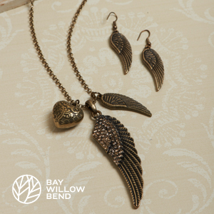 Gold Fly Away Heart Necklace & Earring Set- $19 with Free Shipping