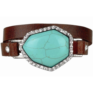 Vintage Stone Leather Bracelet- $15.99 with Free Shipping