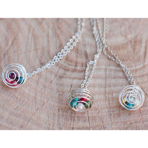 Silver Birthstone Pearl Cage Necklace- $10 with Free Shipping