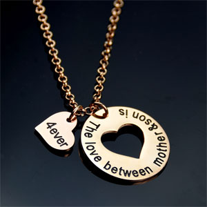 Mother & Son Necklace with Heart Charm- $14.50 with Free Shipping