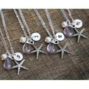 Starfish Handstamped Initial Necklace- $10 with Free Shipping