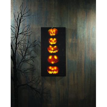 LIGHTED PUMPKIN STACK CANVAS