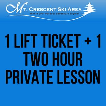Mt. Crescent Ski Area - 1 Lift Ticket + 1 Two Hour Private Lesson