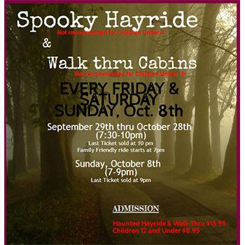 Sparrow Pond Haunted Hayride and Walk Through Cabins