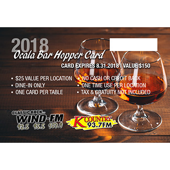 2018 Ocala Bar Hopper Card