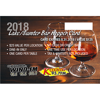 2018 Lake / Sumter Bar Hopper Card