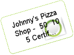 Johnny&#39s Pizza Shop - $50 (10 $5 Certificates)
