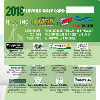 2018 Hearinc Players Golf Card