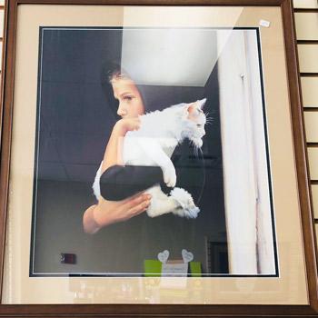 Art & Frame Shop - Amish Girl with Cat - Framed Artwork