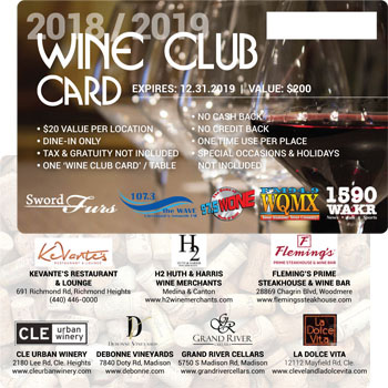 The 2018/2019 Wine Club Card