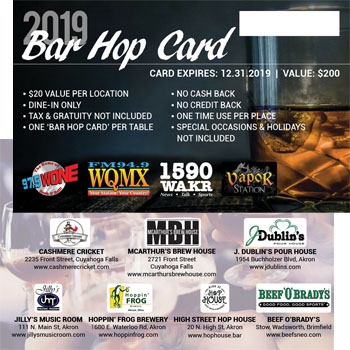 2019 Bar Hop Card