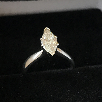 14K  WHITE GOLD MARQUISE CUT DIAMOND