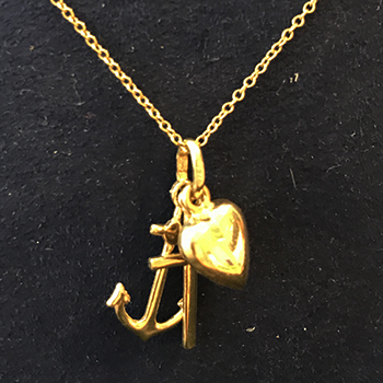 14K Yellow Gold Anchor, Cross, Puffed Heart Charms Pendant