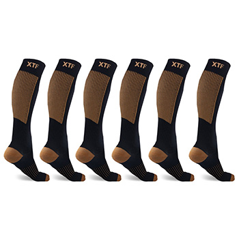 6-Pairs : Unisex Copper-Infused Compression Socks - $19.99 with FREE Shipping