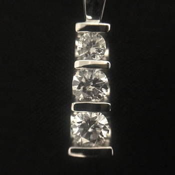 14k White Gold 3-stone Diamond Pendant Necklace