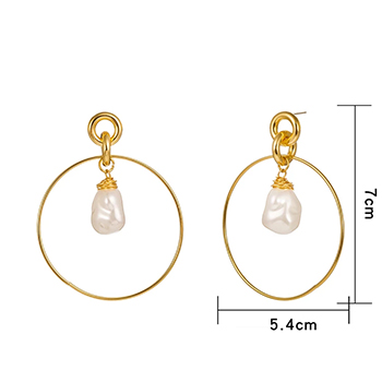 Drop Hoop Earrings Gold Plated with Simulated Pearl Drop with FREE Shipping!