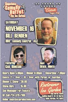 Slapsticks Comedy Buffet at the Ice Garden on November 16th!