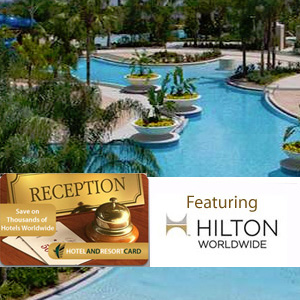 Hotel And Resort Card Featuring Hilton World Wide- $40 buys $400 in discounts! | HalfOffDeals