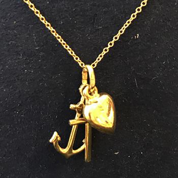 14K Yellow Gold Anchor, Cross, Puffed Heart Charms Pendant