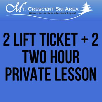 Mt. Crescent Ski Area - 2 Lift Tickets + 2 Two Hour Semi-Private Lessons