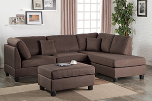 Robin Chocolate Reversible Sectional with Ottoman