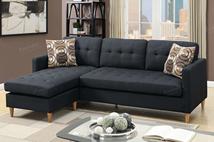 Tyler Black Reversible Chaise Sectional with Ottoman