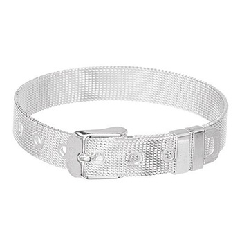 Belt Buckle Mesh 925 Sterling Silver Plated Bracelet - $17.00 with FREE Shipping!