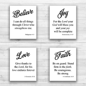 Religious Quotes Wall Art - 8  x 10  Frame Ready Prints
