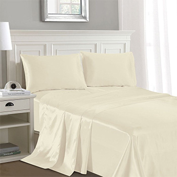 Luxury Home® Silky-Soft Satin Sheet Set (4-Piece)-$34.99 with FREE SHIPPING!
