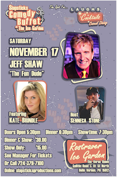Slapsticks Comedy Buffet at the Ice Garden on November 17th!