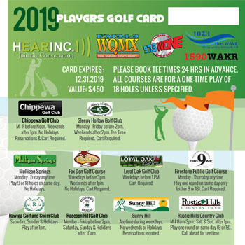 2019 Hearinc Players Golf Card