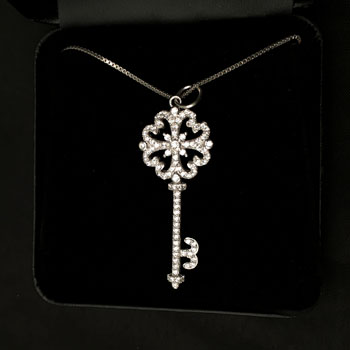 Sterling Silver Cubic Zirconia KEY Pendant Necklace