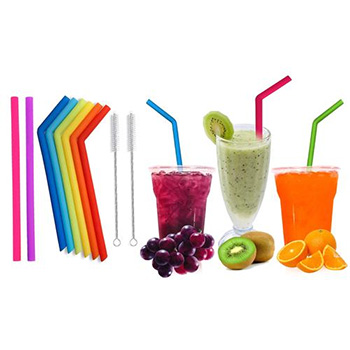 Reusable Silicone Wide Drinking Straws with Cleaning Brushes (10-Pack) With FREE Shipping!