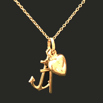 14K Yellow Gold Anchor, Cross, Puffed Heart Charms Pendant Necklace