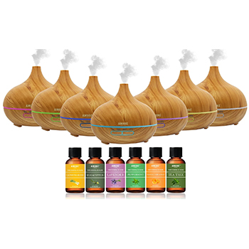 Stylish Ultrasonic Essential Oil Diffuser with Essential Oils (7-Pack) - 39.99 with FREE Shipping!